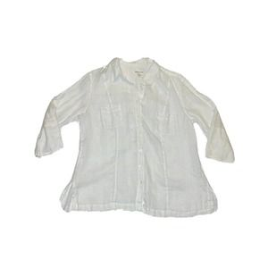 Coldwater Creek Button Up Top Size PL White